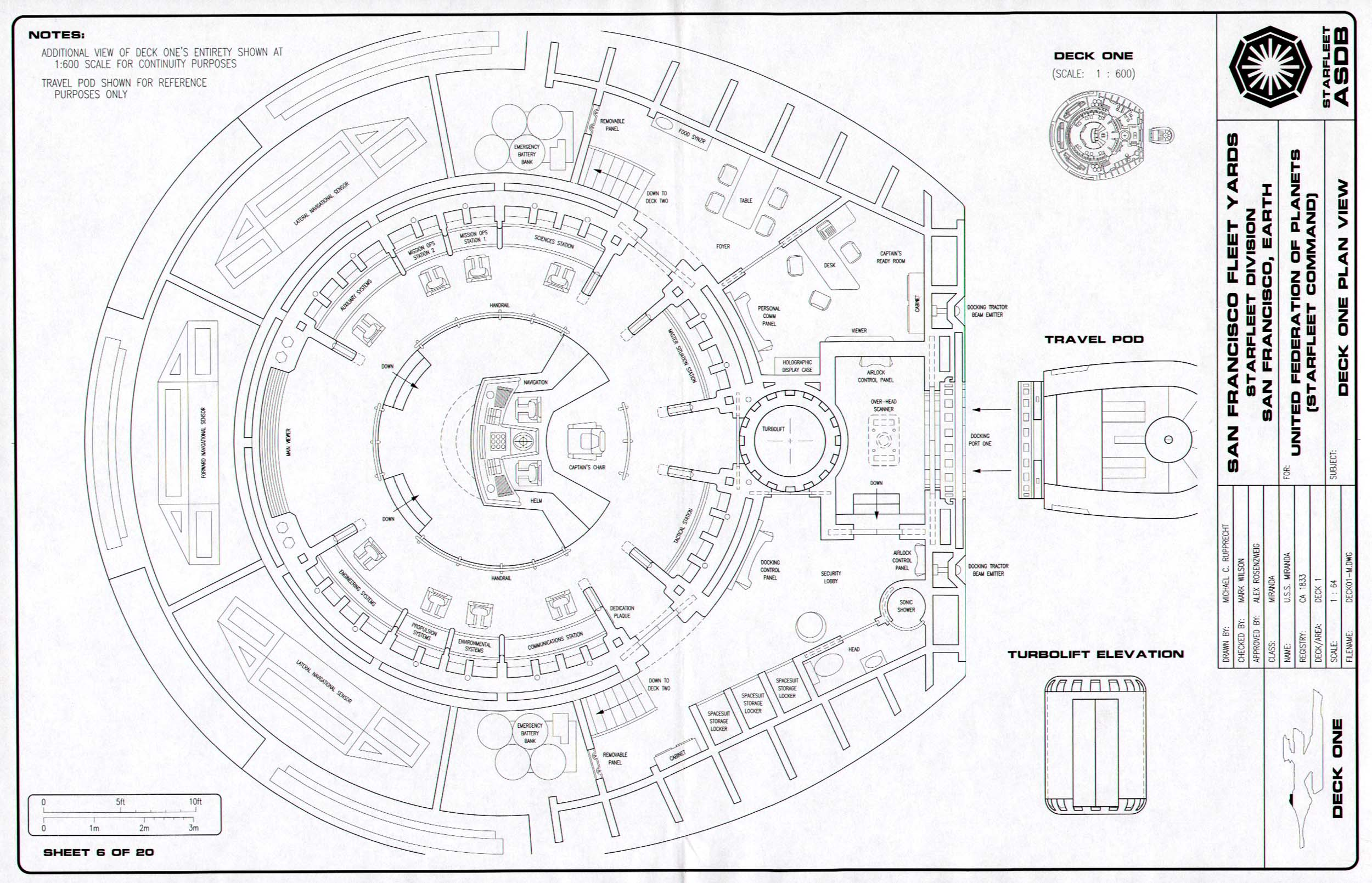 Star Trek Blueprints Miranda Class Cruiser General Plans