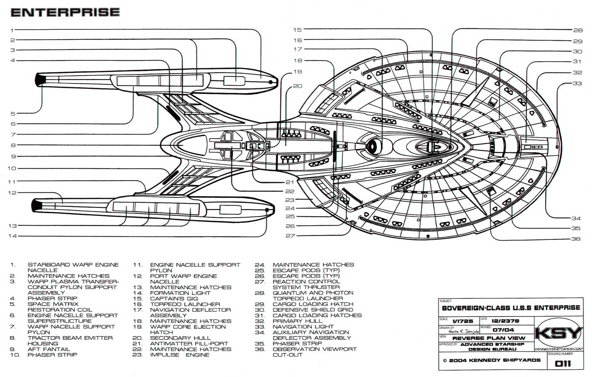 Star Trek Blueprints Sovereign Class Federation Starship