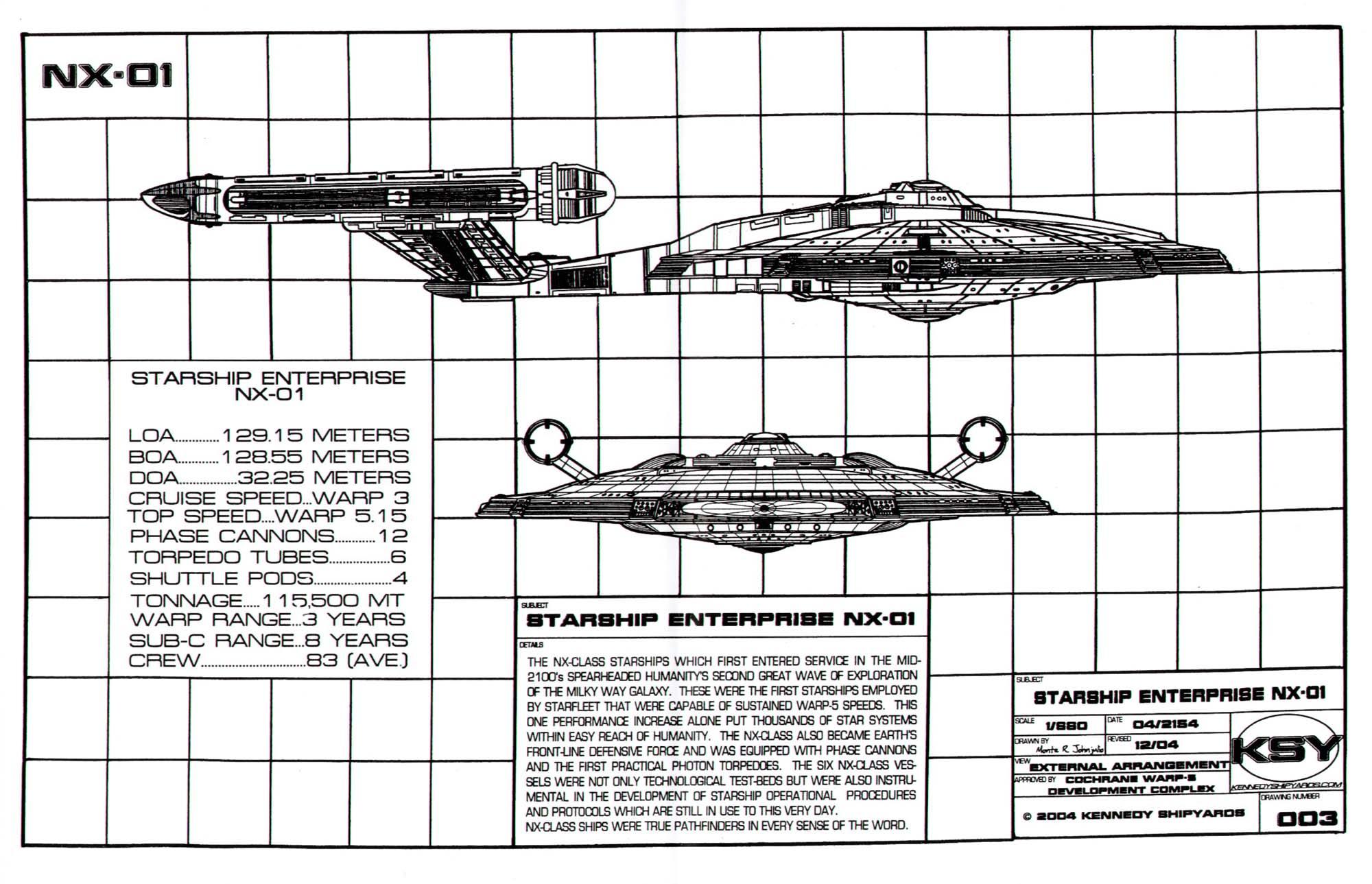 Star Trek Blueprints Starfleet Vessel Enterprise Nx 01