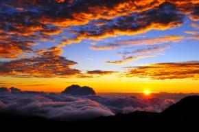 Sunset, Sun, Mountains