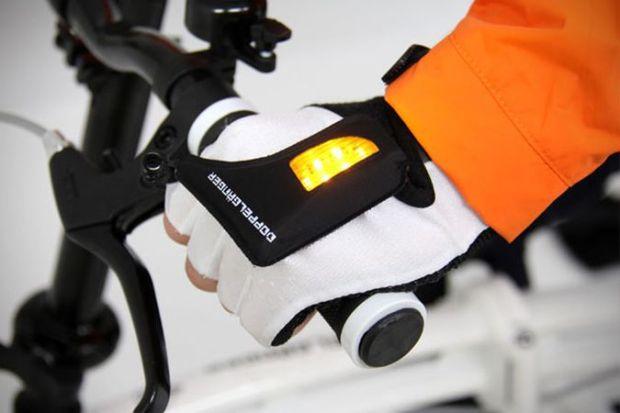 Orange LED Turn Signal Bike Gloves