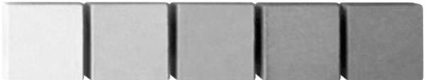 Probetas de hormigón sin pigmentar:  Izquierda elaborada con cemento blanco y resto con grises con oscuridad en aumento.