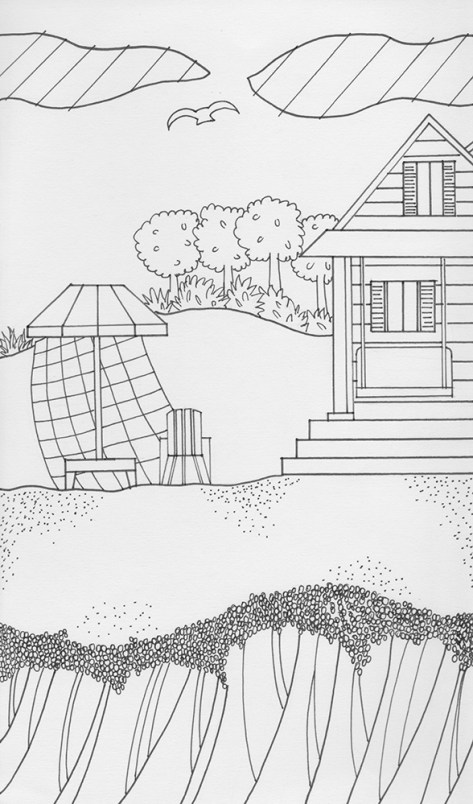 coloring pages stylized beach cottage