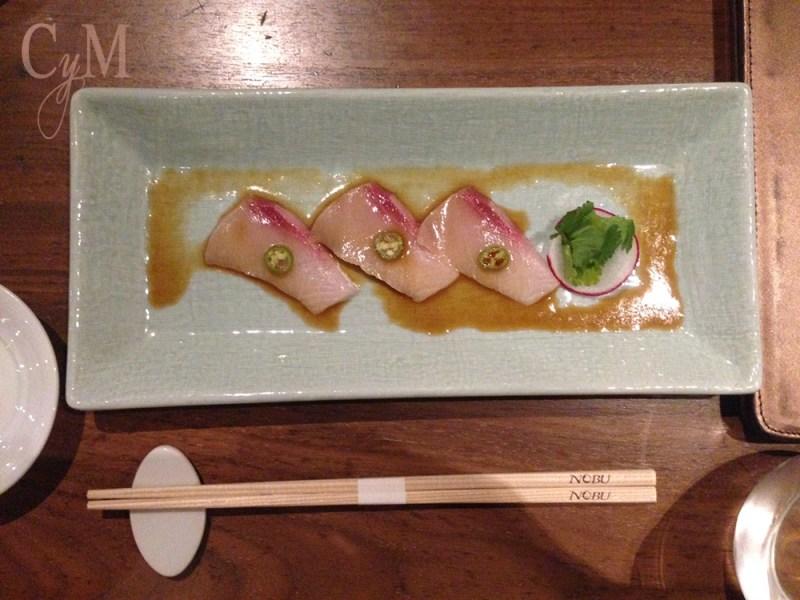 nobu restaurant yellowtail sashimi with jalapeno