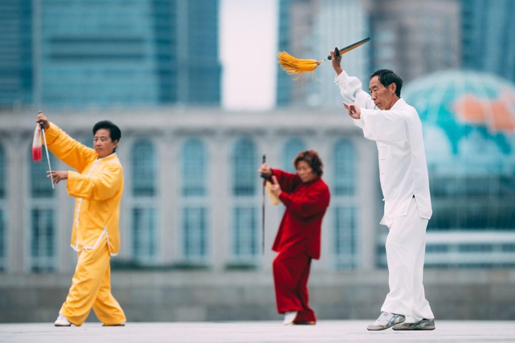 shanghai people doing taichi