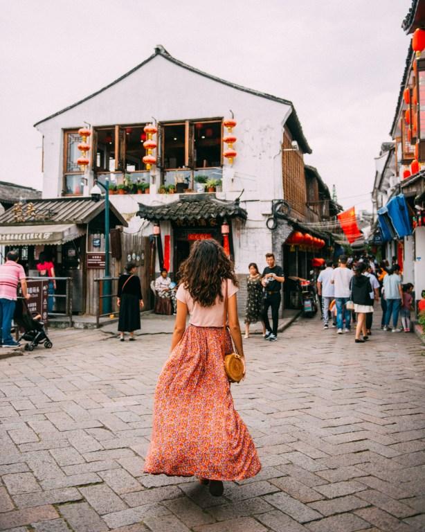Zhujiajiao streets women floral skirt