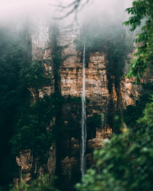 zhangjiajie mountains and a waterfall