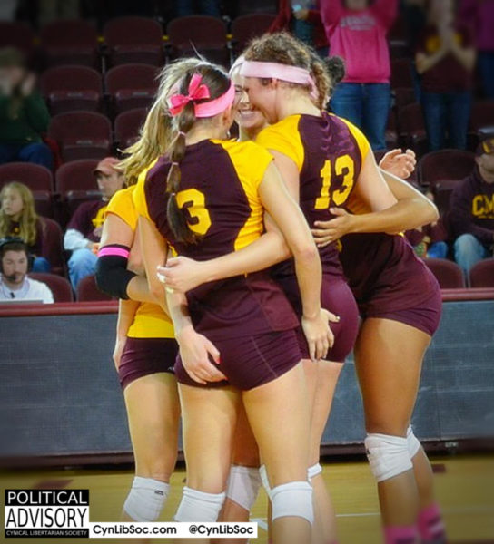 Volleyball chycks celebrate victory.