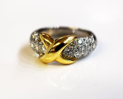 Vintage Diamond and Gold X Ring