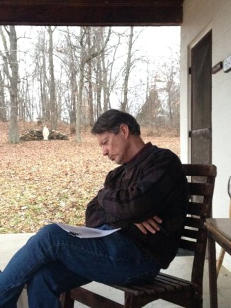 December 2013 on the porch of Thomas Merton's hermitage at the Abbey of Gethsemani in Kentucky