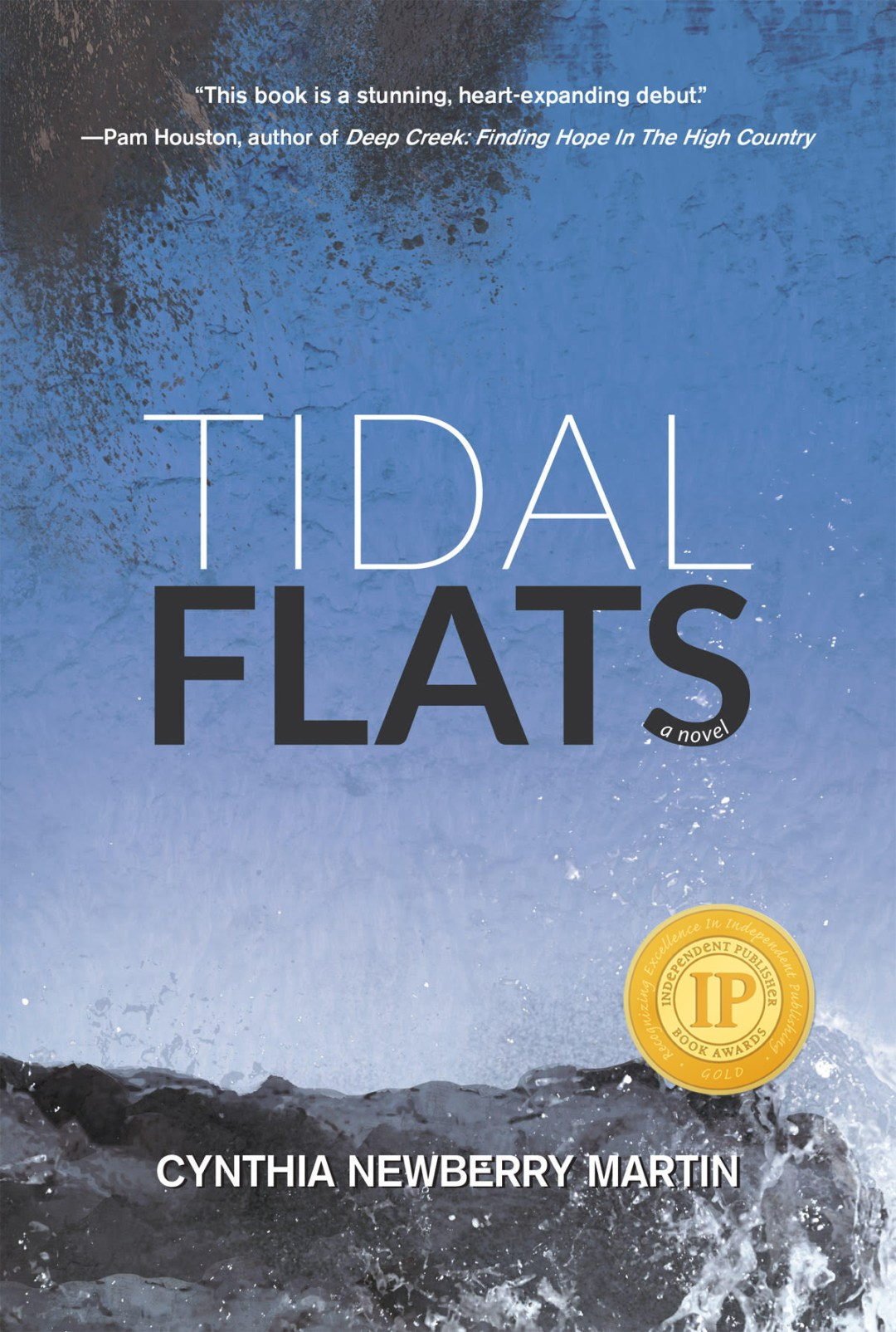 Book cover for Tidal Flats. Blue with dark edges. Title in the middle.