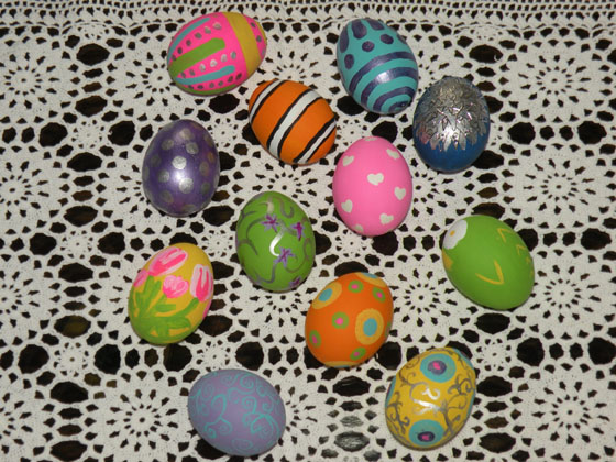 painted easter eggs drying