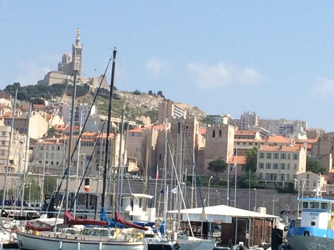 AIZ Marseille boats and cathedral