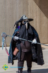 Student in gothic dark Halloween costume