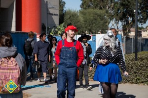 Students in Halloween costumes as Mario and others