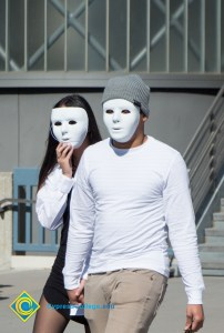 Students with ghost masks