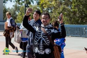 Student dressed as skeleton