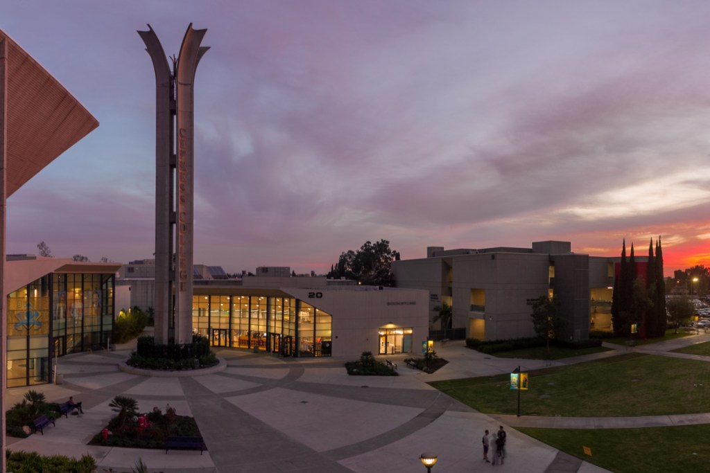 Cypress College Campanile at sunset