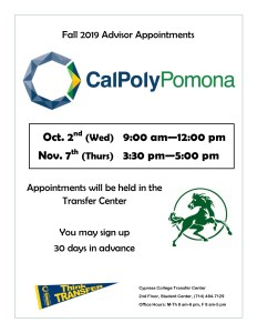 2019 Cal Poly Pomona advisor appointments dates and times