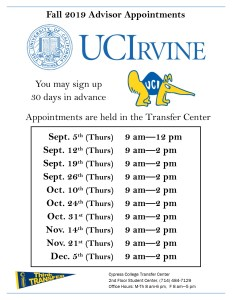 Transfer Center UCI advisor appointments dates and times