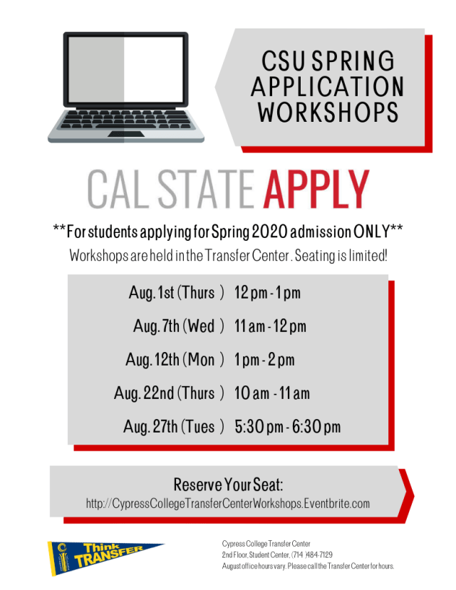 Csu Calendar Spring 2020 CSU Spring Application Workshop – Cypress College