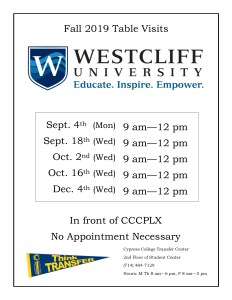 Flyer with white background and Westcliff University logo and transfer pennant