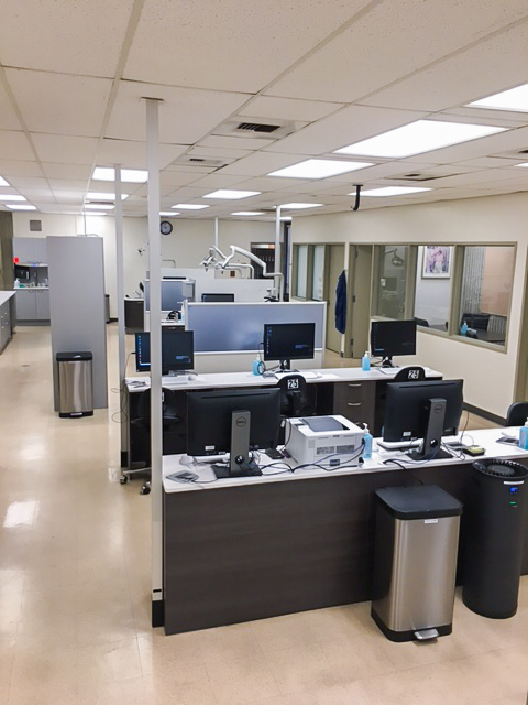 Upgraded electronics in the Cypress College Dental Hygiene Clinic