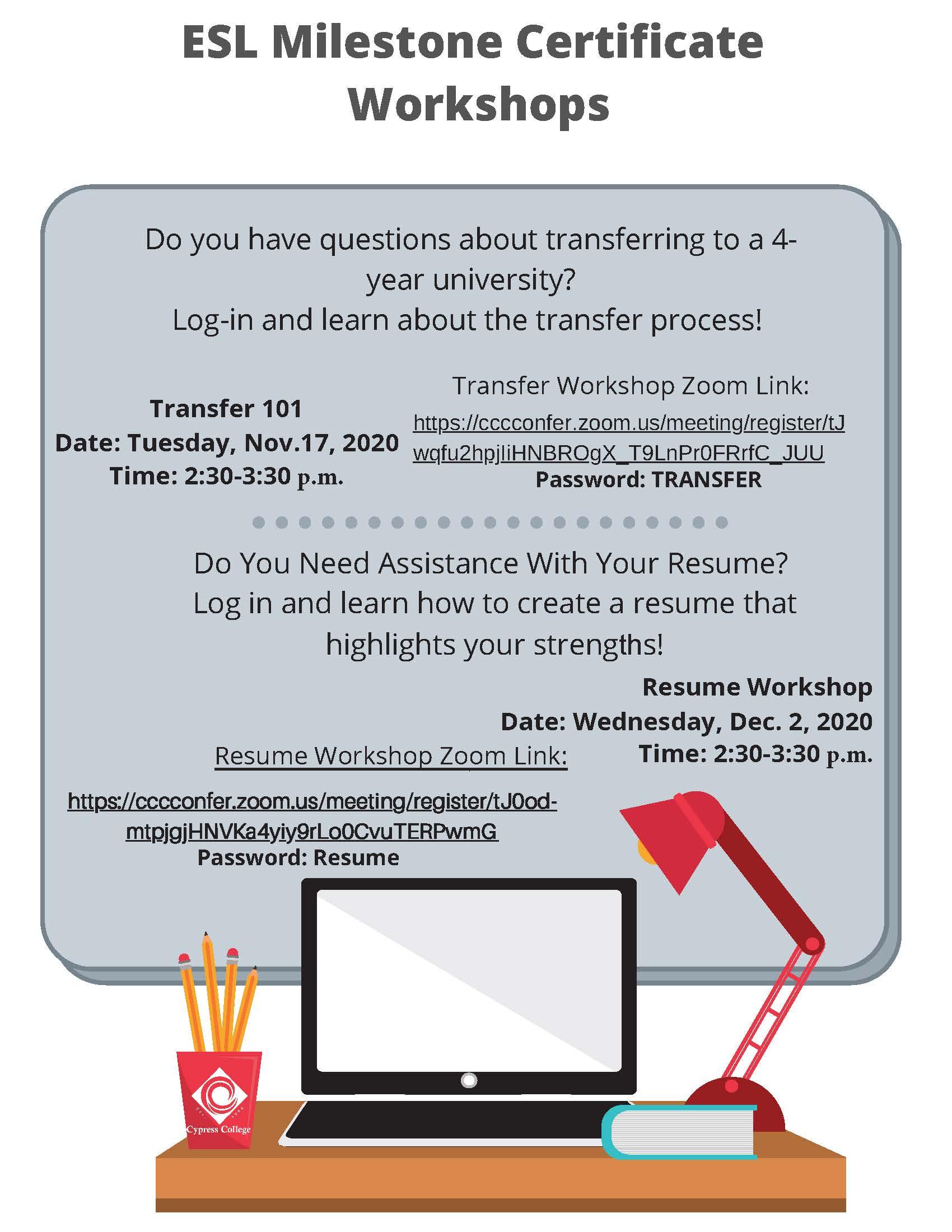 ESL Milestone Certificate Workshops flyer
