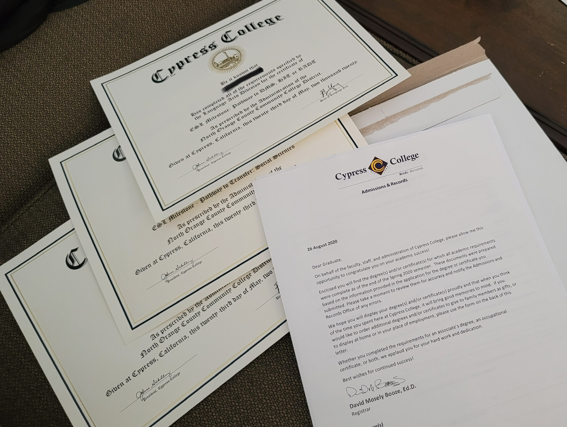 ESL certificates and letter