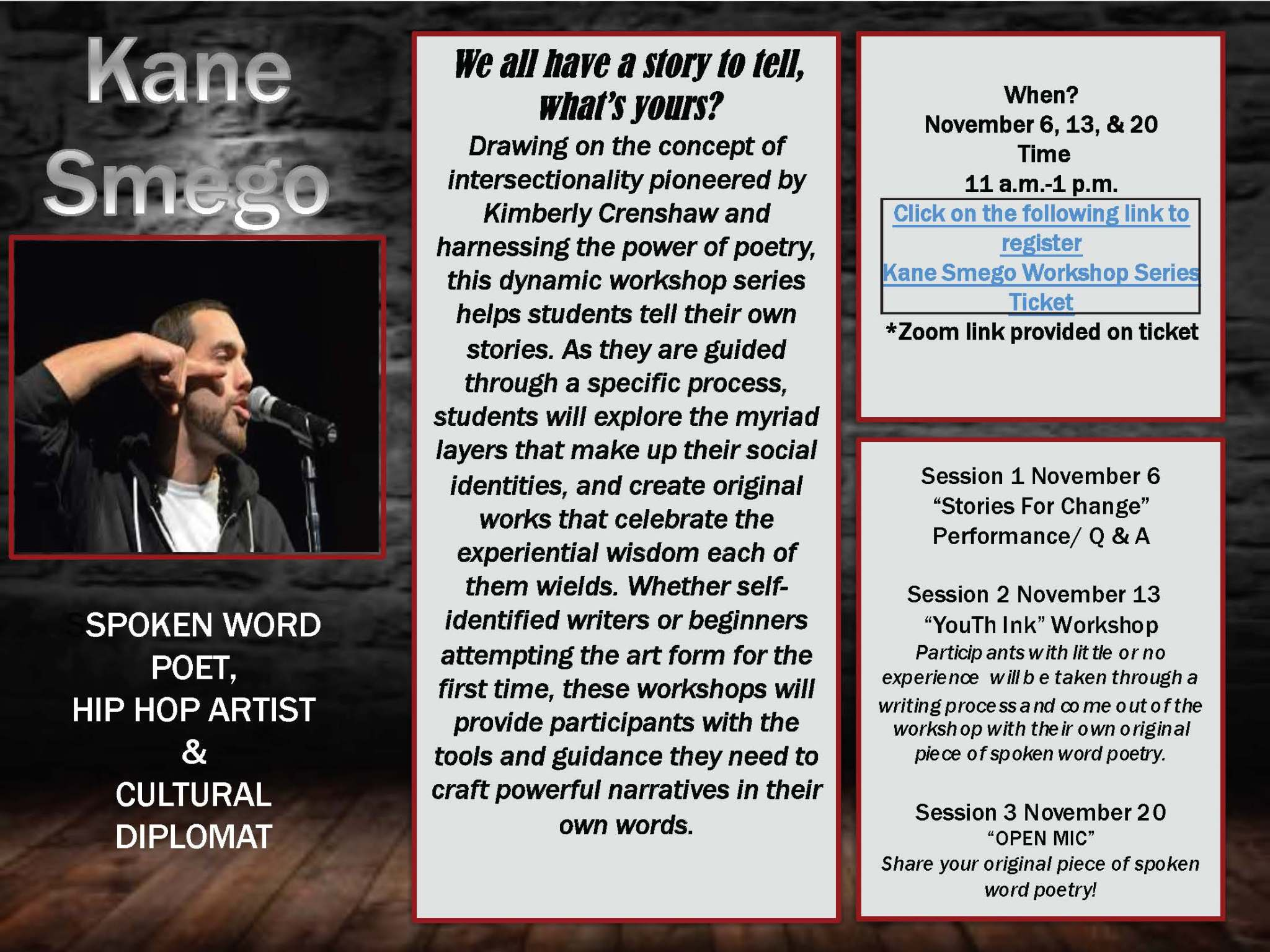 Kane Smego Workshop Series flyer