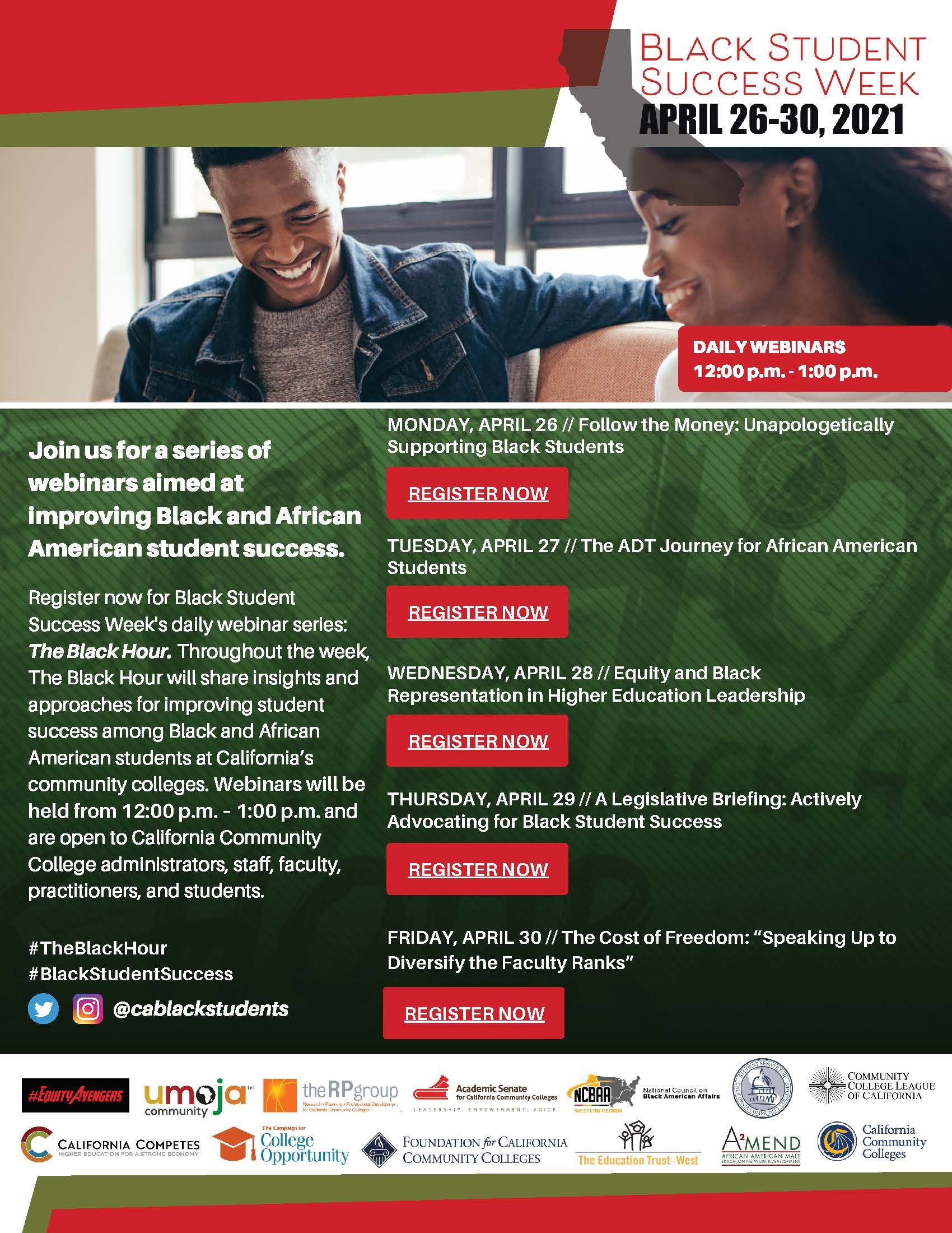 Black Student Success Week information, featuring two students