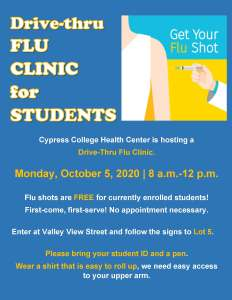 Flyer for Flu Clinic, includes image of person getting a flu shot