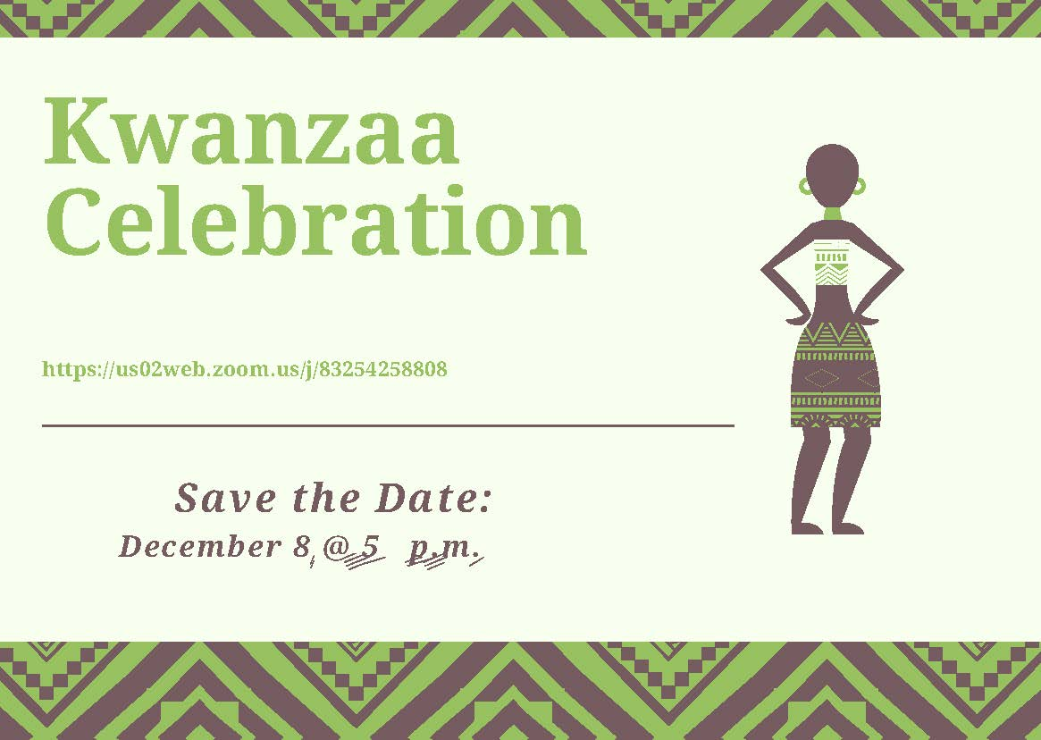 Green and brown Kwanzaa Celebration flyer with drawing of woman dressed in traditional African attire and a notice to save the date