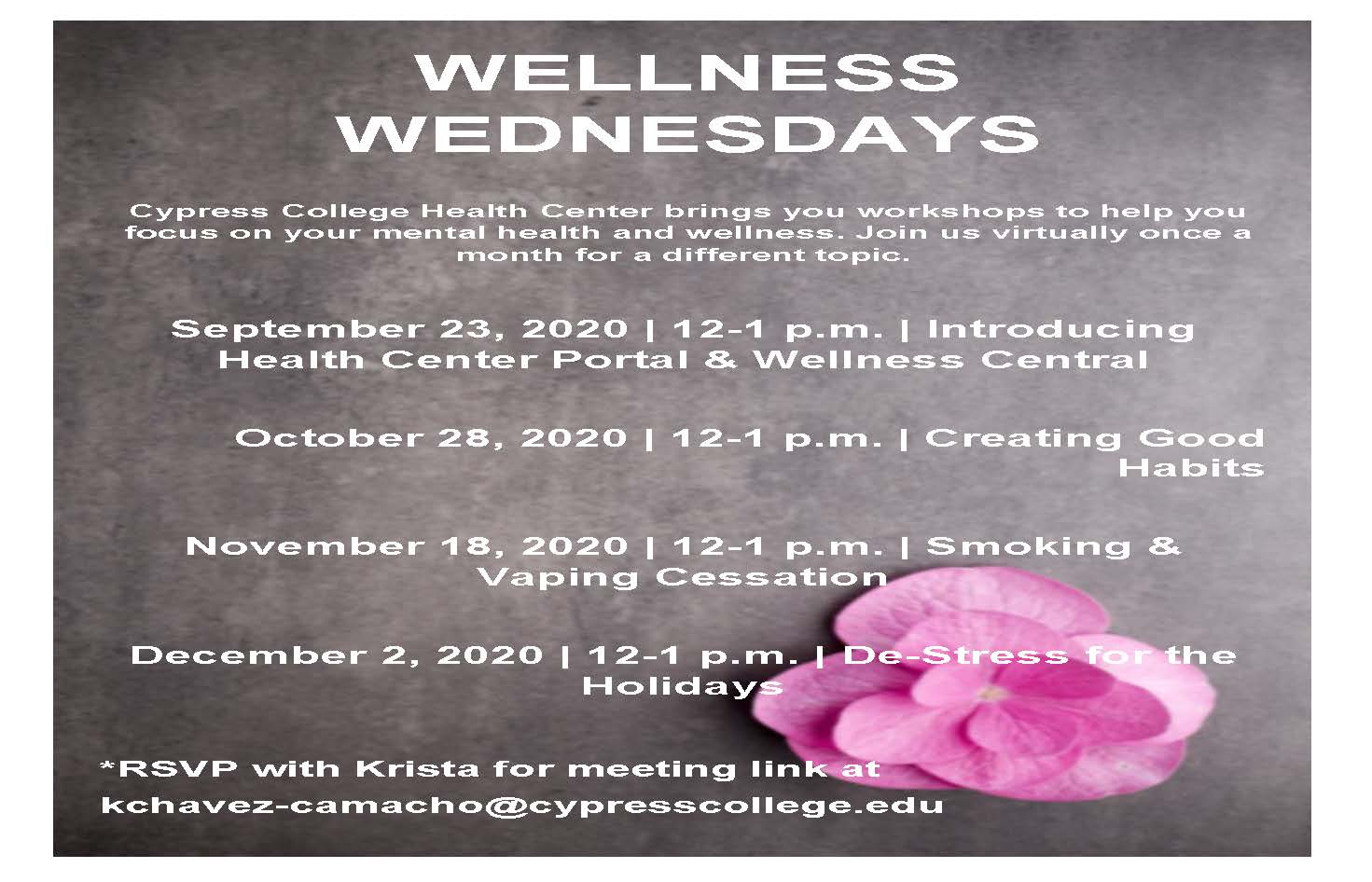 Flyer for Wellness Wednesdays