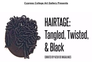 Composite image of black telephone cords as hair for art flyer