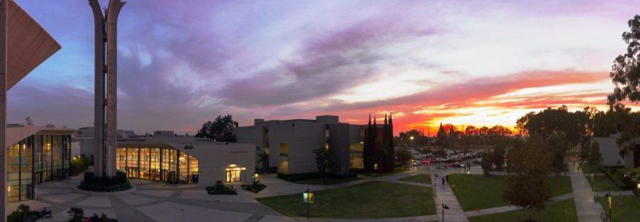 Cypress College Gateway Plaza at sunset