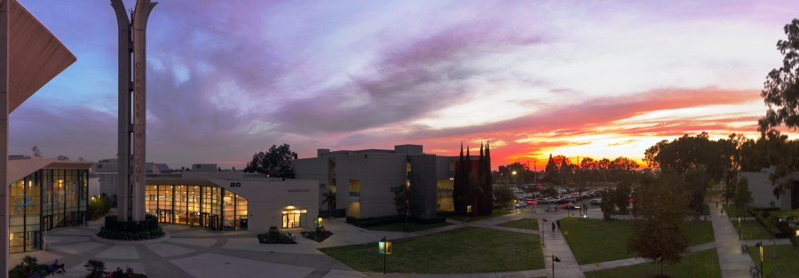 Cypress College Gateway Plaza at sunset