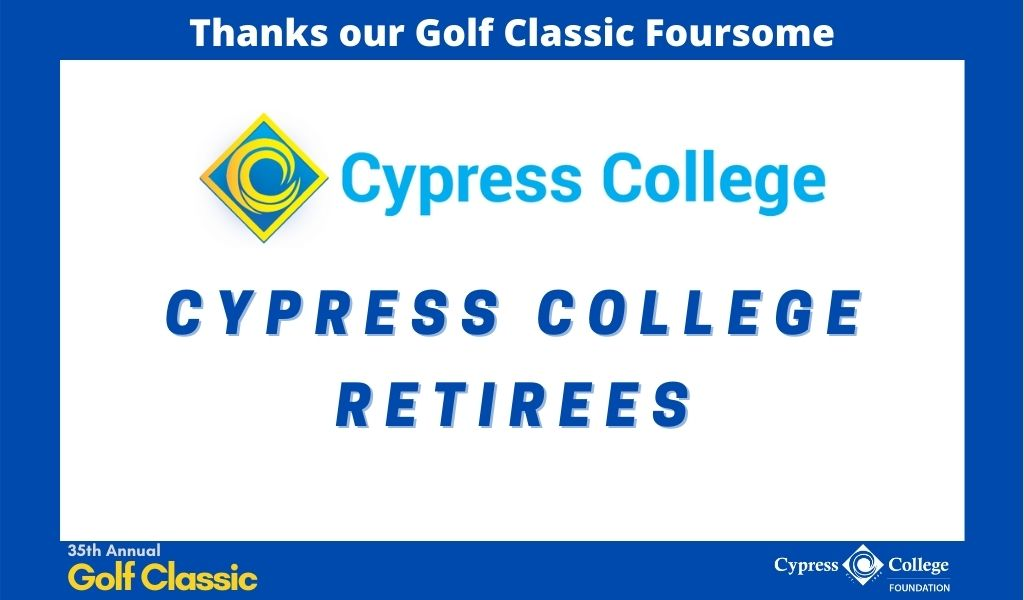 "Cypress College logo and words ""Cypress College Retirees"""