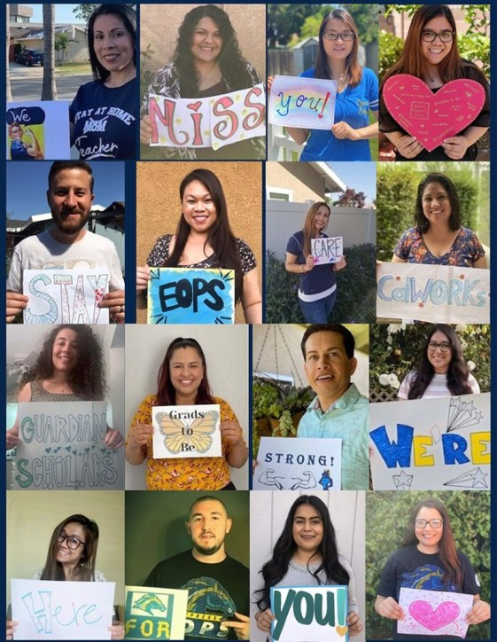 Collage of employees from EOPS holding signs of encouragement