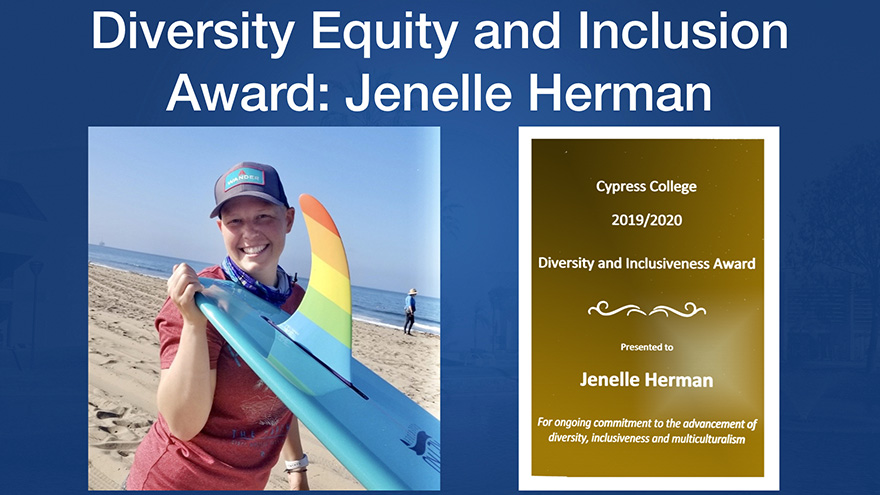 Award for Jenelle Herman; Jenelle standing with surfboard