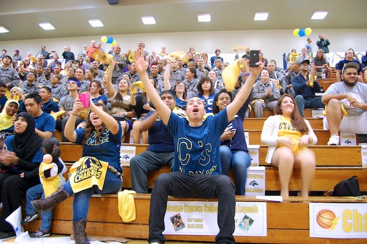 Fans in stand at basketball game