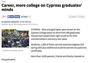 The Orange County Register coverage of Cypress College's 47th Commencement.