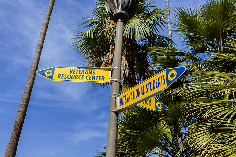 Directional signs on Cypress College campus