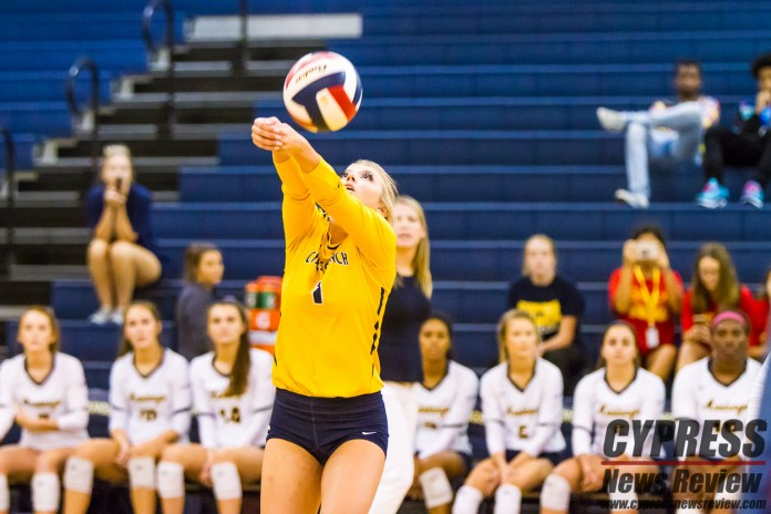 Sabrina Sustala passes the volleyball during the Cy-Ranch Mustangs' victory over Cy-Park, Tuesday (Sept. 4, 2018). The Mustangs are cruising through District 14-6A with a perfect 4-0 league record after the match. (Cypress News Review photo by Creighton Holub)
