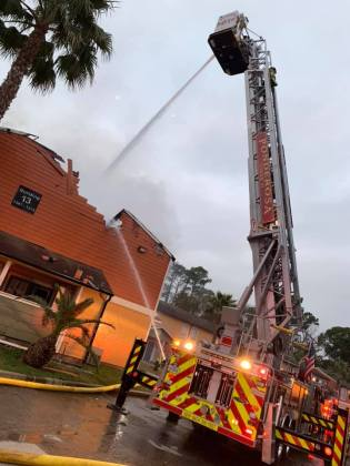 An apartment fire in the 900 block of Cypress Station Dr. at approximately 7 a.m., Jan. 15, 2019, to assist Ponderosa Fire Department. (HCFMO courtesy photo)