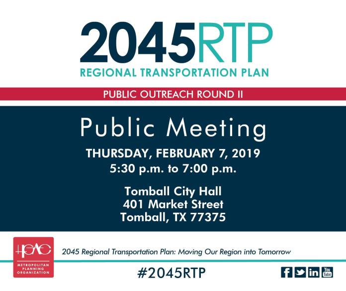 The 2045 RTP for the Houston Galveston are will set investment priorities for the multi-modal transportation system that connects people to places where they live, work, play, and efficiently moves goods from, to and through the region. The HGACmpo will be in Tomball February 7th to present Transportation 101: What You Need to Know! A public meeting with an expert panel explaining what's next for Houston transportation and answering questions from people who work and live in Tomball! For more information visit http://2045RTP.com.