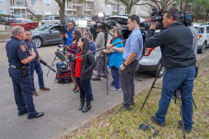 Precinct 5 Constable Ted Heap talks with members of the media after the incident at The Village School on Jan. 22, 2019. (Pct. 5 courtesy photo)