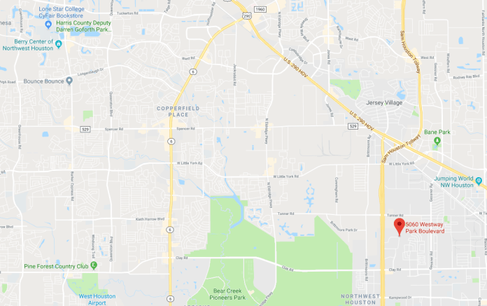 The location of Lone Star College System's new  LSC-Westway Park Technology Center, in relation to the Berry Center and LSC-CyFair. (Google Maps)