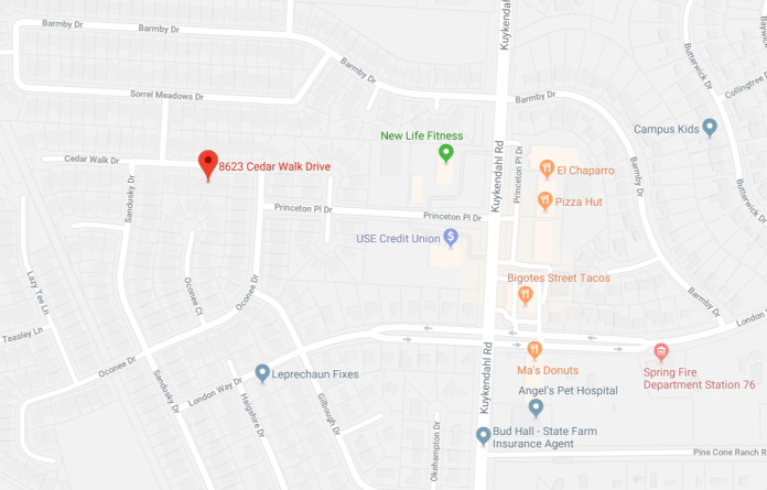 A map showing the location of the Cedar Walk Drive murder of 29-year-old Elizabeth Barraza. Police are looking for the driver of a pickup truck, video of the suspect is available in our article. (Google Maps)