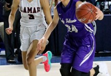 Jersey Village High School sophomore Briana Perguro (right) helped lead the Falcons to a bi-district playoff win over Houston Lamar. They advanced to face Fort Bend Dulles at 7:30 p.m. on Feb. 14 at Spring Branch ISD's Don Coleman Coliseum. (Photo by Gianncarlo Hernandez, Jersey Village HS)